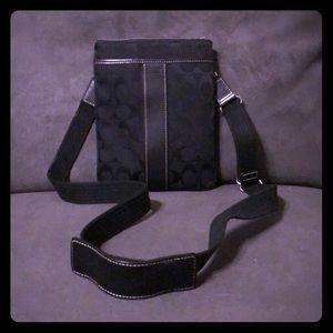Authentic Coach cloth crossbody w/leather trim